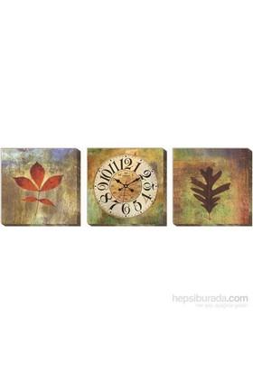 Yapraklar Kanvas Tablo Duvar Saati
