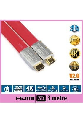 Ti-Mesh Hdmı Kablo V2.0 Flat - Kırmızı - 3M