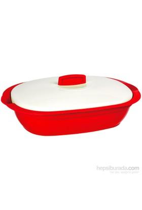 Bager Bellisima Plastik Oval Tencere - 2000 Ml - Kırmızı