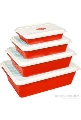 Bager Smartlıne Saklama Kabı 4' Lü Set - Kırmızı