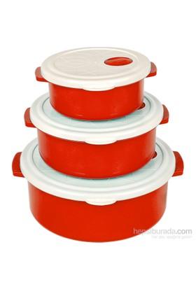 Bager 3'Lü Plastik (Tencere) Saklama Kabı Seti - Kırmızı