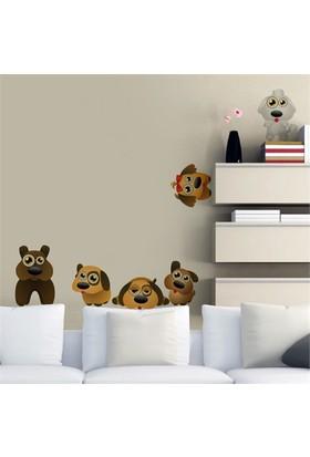 Modelce Sevimli Köpekler Çocuk Odası Sticker ve 2 adet Priz Sticker