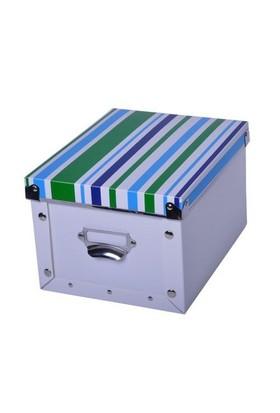 Plastik Beyaz Çizgili Mavi Kapaklı Kutu Küçük