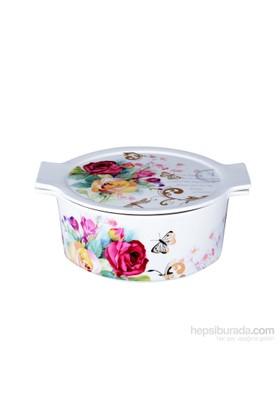 iHouse 33205-Kapaklı Porselen Fırın Kabı 22X19x8-Beyaz