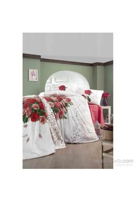 Evlen Home Collection Love Rose Kırmızı Çift Kişilik Battaniye Set - 5 Parça