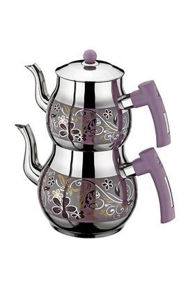 İnter Çelik Çiçek Dekorlu Çaydanlık Orta