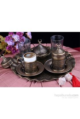 Sena Sultan Karizma 2'Li Kahve Fincanı Hilalli Antik Sarı