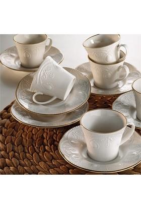Kütahya Porselen Fulya Krem 12 Parça 6 Kişilik Çay Fincan Takımı