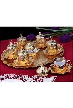 Sena Lalezar 6'Lı Kahve Fincanı Hilalli Altın Sarı