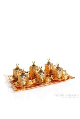 Sena Kare Lalezar 6'Lı Kahve Fincanı Hilalli Altın Sarı