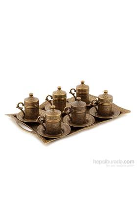 Sena Kare Karizma 6'Lı Kahve Fincanı Antik Sarı