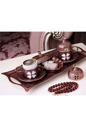 Sena Yonca 2'Li Kahve Seti Hilalli Antik Bakır