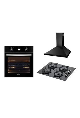 Eminçelik Erguvan Black 3'lü Ankastre Set (21210/21212 Fırın+12225 Döküm Izgara Ocak+14200 S Davlumbaz)