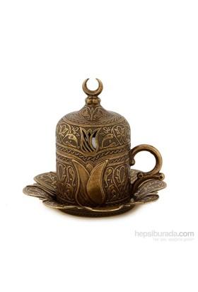 Sena Lalezar Kahve Fincanı Hilalli Antik Sarı (6'Lı Paket)
