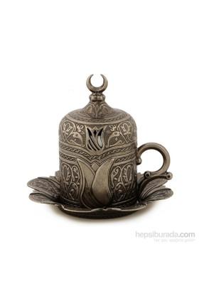 Sena Lalezar Kahve Fincanı Hilalli Antik Nikel (6'Lı Paket)