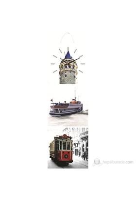 Nostalji İstanbul Mdf Üçlü Tablo Saat