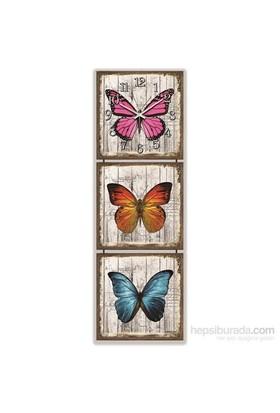 Mdf Renkli Kelebekler Tablo Duvar Saati