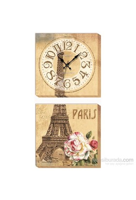 Paris Eyfel Kanvas Tablo Duvar Saati