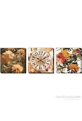 Sonbahar Çiçekleri Kanvas Tablo Saat