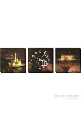 İstanbul Ve Gece Kanvas Tablo Duvar Saati