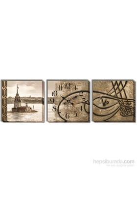 Osmanlı Tuğrası Kanvas Tablo Duvar Saati