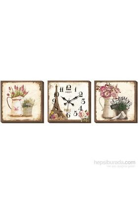 Eyfel Ve Çiçekler Desenli Kanvas Tablo Duvar Saati