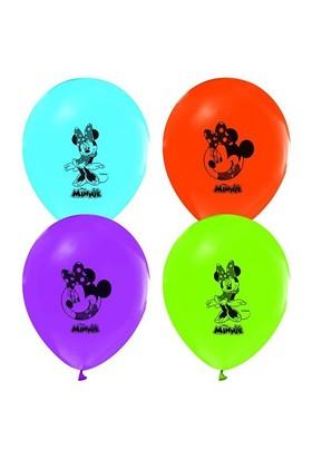 Pandoli 25 Li Latex Minnie Mouse Baskılı Renkli Balon