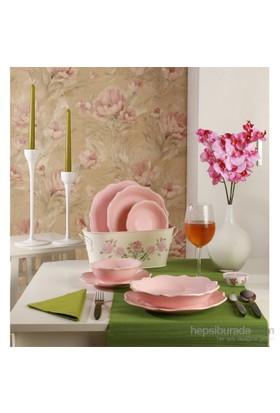 Keramika Yemek Takımı Romeo 24 Parça 6 Kişilik Açik Pembe