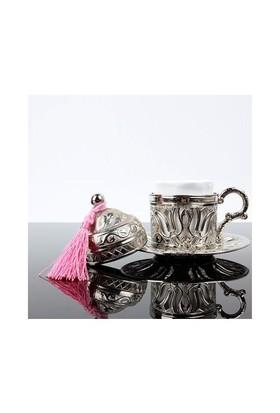 Carda Osmanlı Lale Motifli Tek Kişilik Kahve Fincanı - Gümüş
