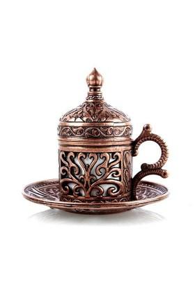 Carda Osmanlı Lale Motifli Tek Kişilik Kahve Fincanı - Bakır