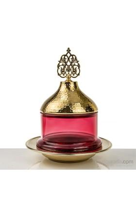 Mukko Home Osmanlı Cam Şekerlik-Altın Kırmızı