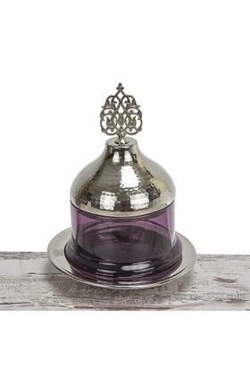 Mukko Home Osmanlı Cam Şekerlik-Gümüş Mor