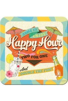 Happy Hour Tekli Bardak Altlığı 9 x 9 cm