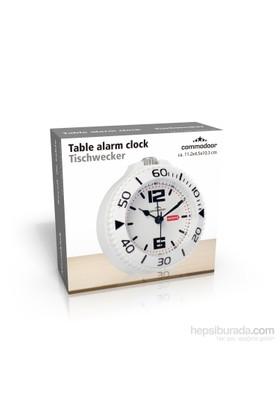 Gold Dekor Masa Saati Alarmlı Beyaz