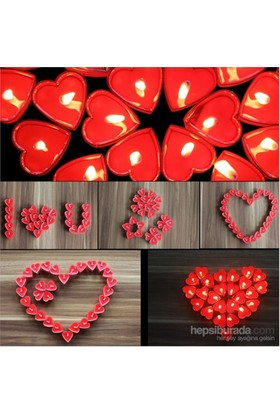 Happy Candle 50 Adet Kalp Şeklinde Tea Lights Mum Mm07