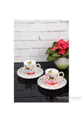 Paşahome Nakışlı Kelebek Model Porselen Lüx 2 Kişilik Renkli Kahve Seti