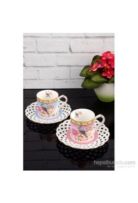 Paşahome Nakışlı Kuş Model Porselen Lüx 2 Kişilik Renkli Kahve Seti
