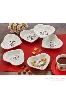 Keramika 6 Parça 13 Cm Beyaz Kalp Çerezlik