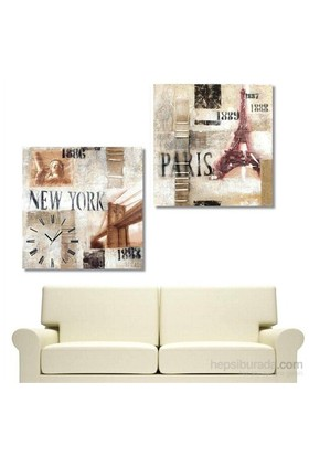 Ny Ve Paris - 2 Parçalı Kanvas Saat