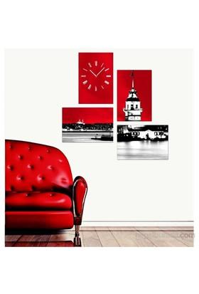 Kırmızı Kız Kulesi - 4 Parçalı Kanvas Saat