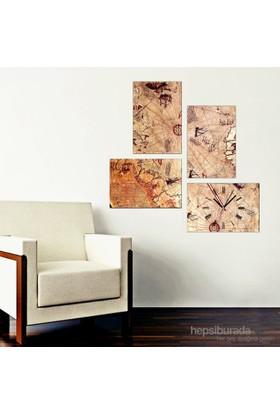 Piri Reis Haritası - 4 Parçalı Kanvas Saat