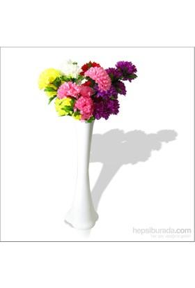 5 Renk Çiçek ve Kırılmaz 60 cm Beyaz Vazo