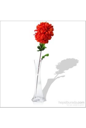 Kırmızı Ortanca Kırılmaz 40 cm Cam Vazo