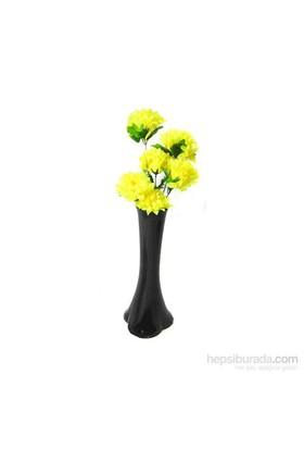 Sarı Çiçek 40 cm Kırılmaz Siyah Vazo