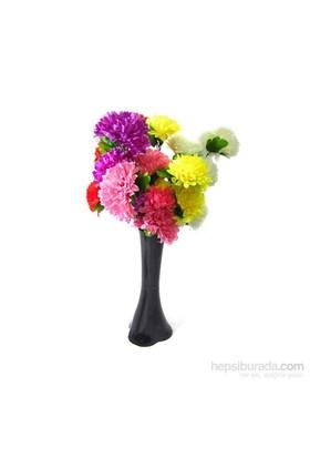 5 Renk Çiçek 40 cm Kırılmaz Siyah Vazo