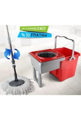 Uygun Katlanabilir Temizlik Seti Spin Mop Kırmızı