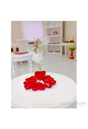 Keramika 6 Parça 9 Cm Kırmızı Bayrak Kalp Sosluk