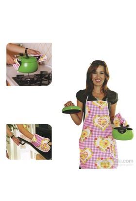 Alas Mutfak Önlük Eldiven Seti 4'Lü Set -1390