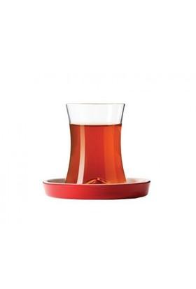 Koleksiyon İstanbul Tiryaki Çay Seti 6lı Kırmızı Tabaklı
