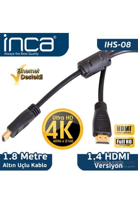 Inca IHS-08 1.8m Altın Uçlu 4K Ultra HD 3D HDMI Kablo